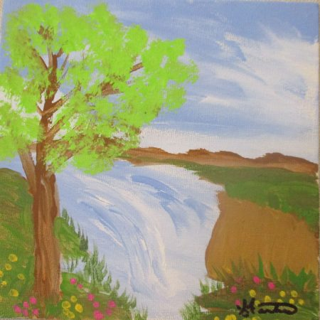 tree by falls original painting