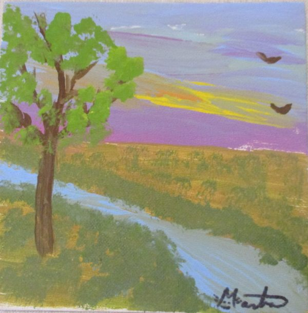 tree by stream original painting