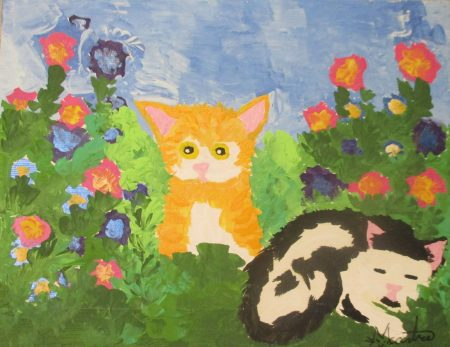 two cats Martice original painting