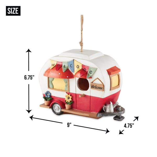 red white camper birdhouse size