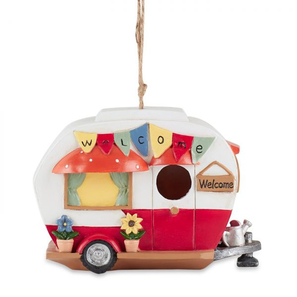 red and white camper birdhouse